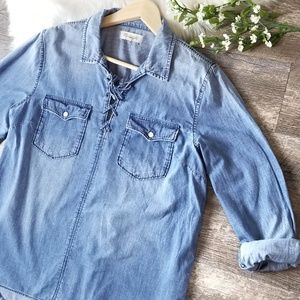 Madewell Denim Lace Up Shirt Chambray Popover XL